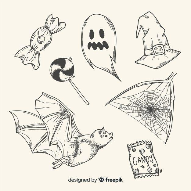 ハロウィンイラスト手書きおしゃれ無料【かぼちゃ/コウモリ/おばけ】
